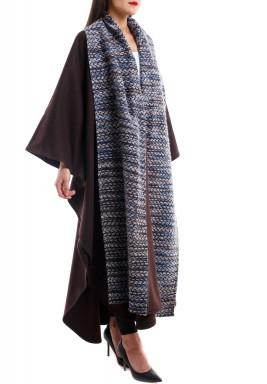 Open side sleeves long tweed collar bisht