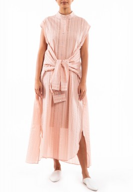 Pink Striped Wrinkled Dress