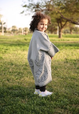 Grey Leaf Embroidery Bisht for Girls