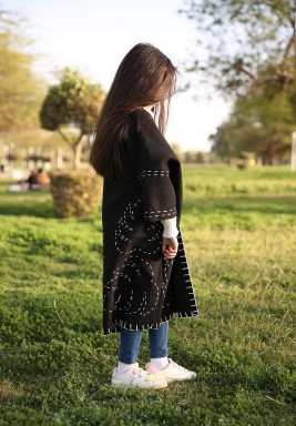 Black Leaf Embroidery Bisht for Girls