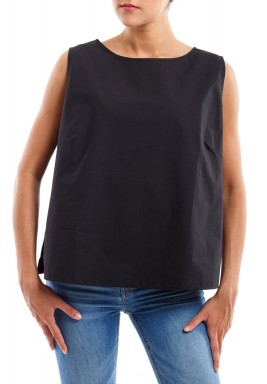 Black Poplin Cotton Top