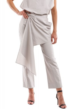Grey Poplin Cotton Pants