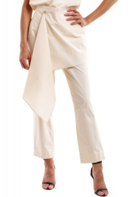 Light Beige Poplin Cotton Pants