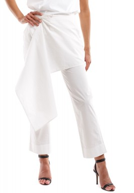 White Poplin Cotton Pants