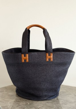 Raffia Beach Bag Black