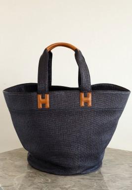 Raffia Beach Bag Black