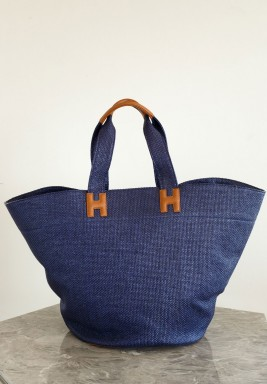 Raffia Beach Bag Blue