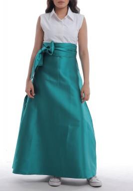 White Shirt & Green Belted Skirt Set