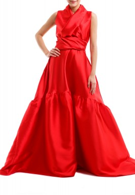 Red Wrap Front Puffed Gown