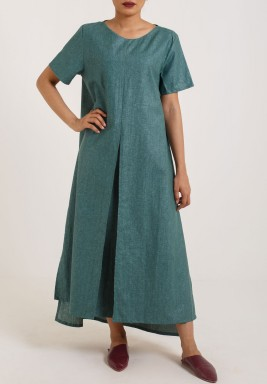 Slit Green Dress Small