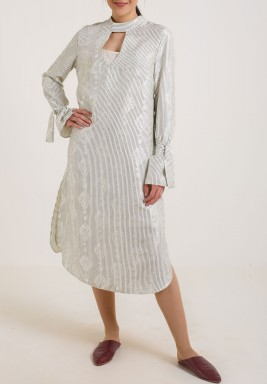 Silk shirt Dress white