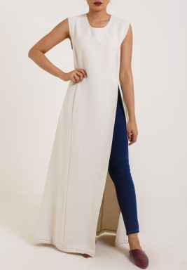 Sleeveless Offwhite Opendress