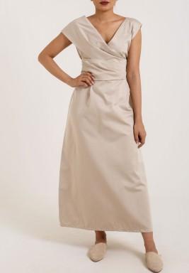 Cross Front Beige Dress