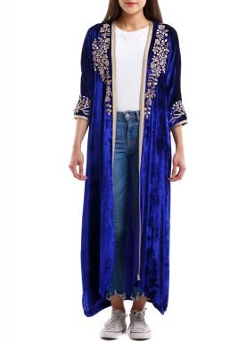 Blue velvet Bisht