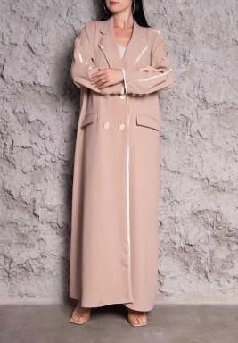 Al Danah Pink Double Breasted Abaya