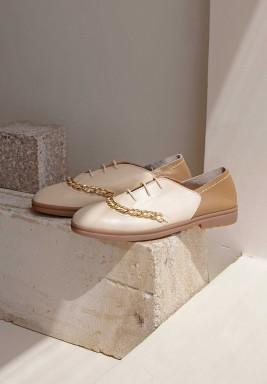 Dora Beige Round Toe Shoes