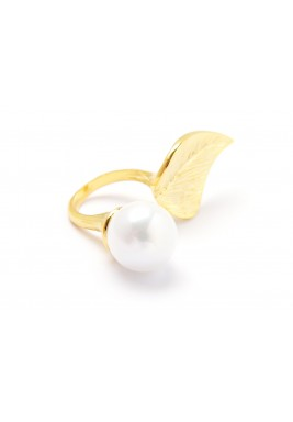 Gold Plated DE Pearl Double Ring