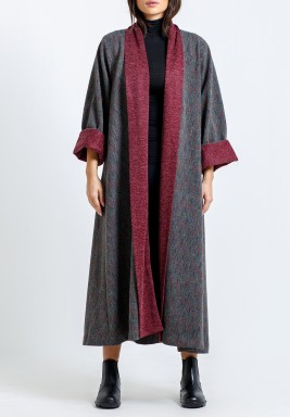 Grey Striped Midi Bisht