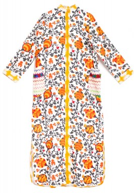 Mimi White & Orange Pomegranate Kaftan