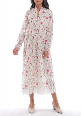 White Floral Pleated Lace Kaftan