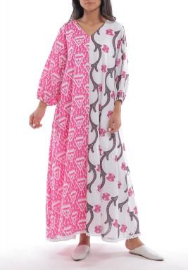 Sima White & Pink Printed Kaftan