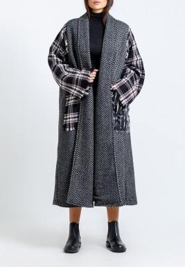 Grey Checked Sleeves Midi Bisht