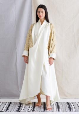 Long Gold Sleeves white Kaftan