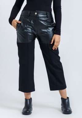 Black Cropped Leather & Twill pants