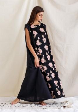 Black Floral Sleeveless Kaftan