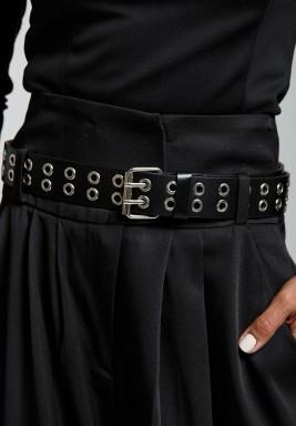 Black Punky Eyelet-Embellished Leather Belt