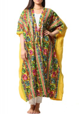 Yellow Colorful Mirror Midi Kaftan