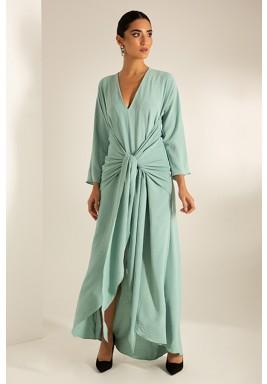 Green Belted Slit Maxi Dress
