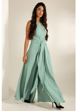 Green Crepe Wide-Legged V-Back Jumpsuit