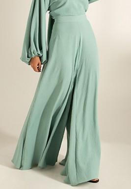 Green Wide-Legged Crepe Maxi Pants
