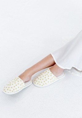 Nejm ElLeil White & Gold Home Slippers