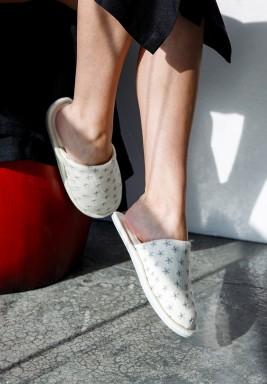 Nejm ElLeil home slippers- White & Silver-