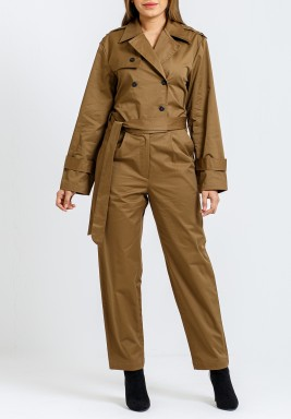 Kaki Double Breasted Trench Jumpsuit