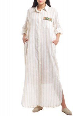Beige Striped Embroidered Kaftan
