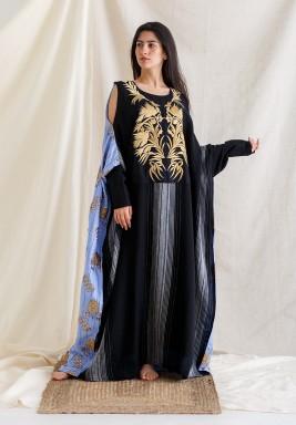 Black Cold Shoulders Gold Embroidery Kaftan
