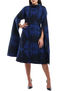 Open sleeve blue cape