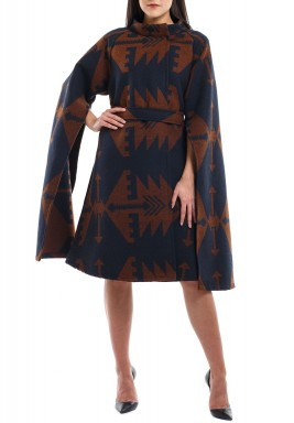 Open sleeve camel cape