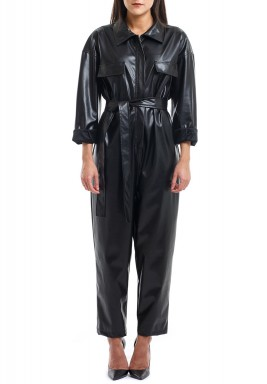 Black Belted Leather Jumpsuit