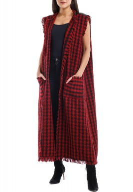 Black & Red Checked Raw Hems Jacket