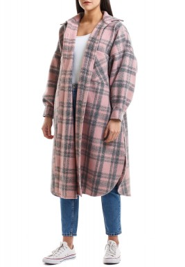 Pink Checked Oversized Coat
