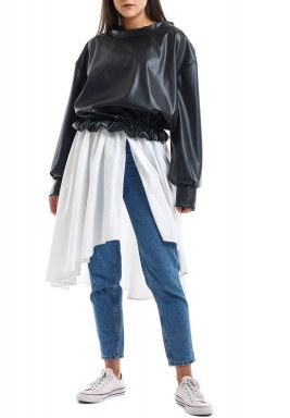 Black Leather Puffed Top