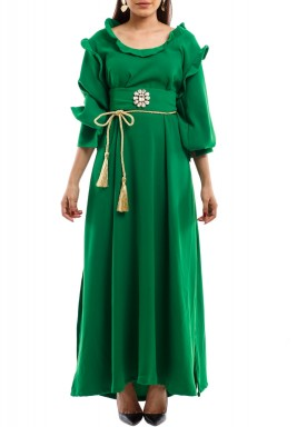 Green Elegant Lady Kaftan With Swarovski Belt