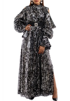 Black & Silver Fully Sequined Kaftan