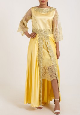 Yellow Moroccan Silk & Lace Kaftan