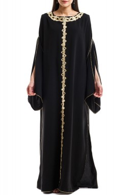Black Cape-Style Embroidered Kaftan