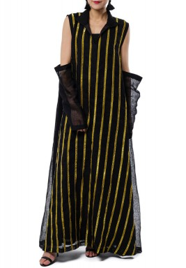 Black Zari Striped Cold Shoulders Kaftan